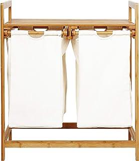 Lumaland Panier à Linge en Bambou 73 x 64 x 33 cm - 2 Poches Amovibles - Blanc - Corbeille de Rangement