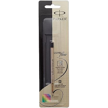 6 Parker Quink Flow Ball Point Pen Refills Black Ink Medium Tip Stock