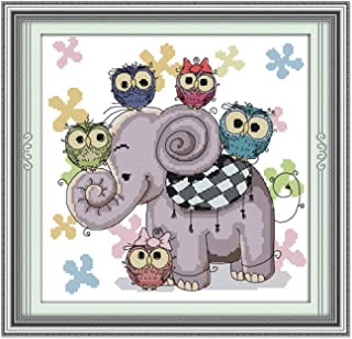 Cross Stitch Stamped Kits Pre-Printed Cross-Stitching Starter Patterns for Beginner Kids or Adults, Embroidery Needlepoint Kits Elephant and Owls