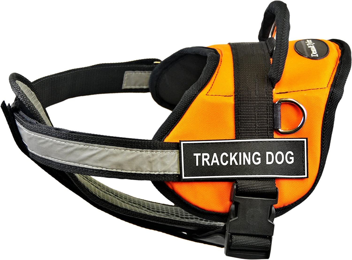 Dean & Tyler 28Inch to 38Inch Tracking Dog Harness with Padded Reflective Chest Straps, Medium, orange Black