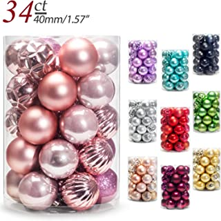 AMS Christmas Ball Ornaments Exquisite Colorful Balls Decorations Pendant Pack of 34pcs (40mm, Pink)