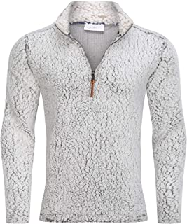 Men's Quarter Zip Fleece Sherpa Pullover Sweater Long Sleeve Sweatshirt with Pockets