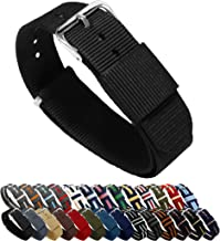 BARTON Watch Bands - Ballistic Nylon NATO Style Straps - Choice of Color, Length & Width (18mm, 20mm, 22mm or 24mm)