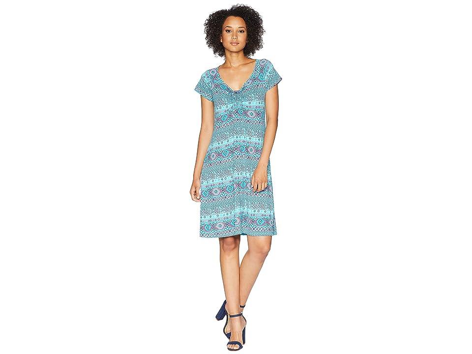 Fresh Produce Stamped Geo Emma Dress (Luna Turquoise) Women