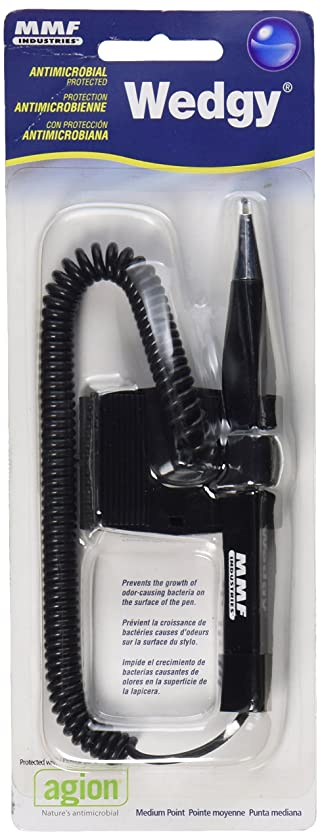MMF Industries Wedgy Anti-Microbial Cord Pens with Clip-on, Blue Ink, Single Pen (28208)