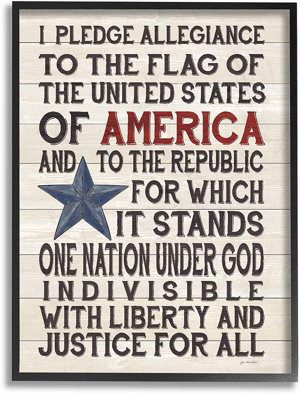 Stupell Industries Pledge of Allegiance Stars and Stripes Americana Rustic Wood Look Sign Black Framed Wall Art, 16 x 20, Multi-Color