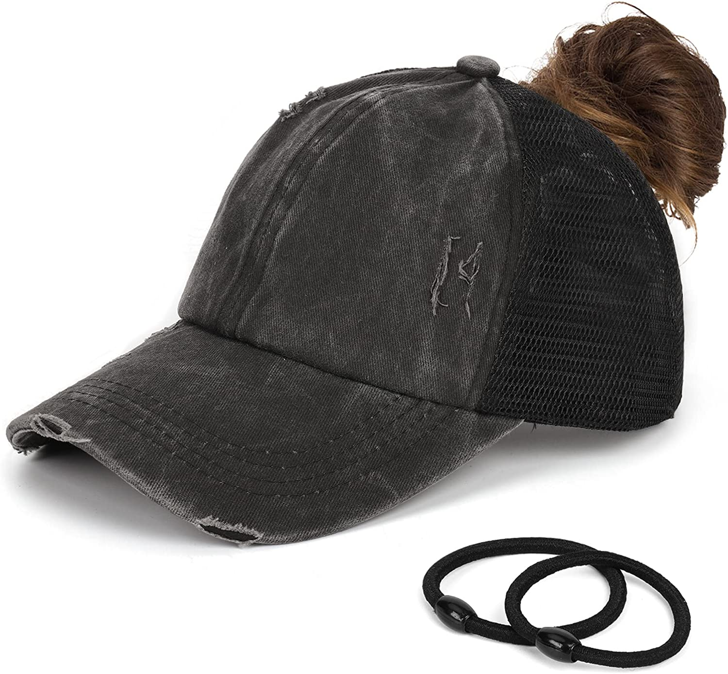 Ponytail Baseball Cap for Women Washed Distressed Truker Hat Criss Mesh Cool Breathable Messy Bun Ponycap Outdoor