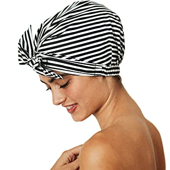 Kitsch Luxury Shower Cap for Women - Waterproof, Reusable Shower Caps (Black and White Stripe)