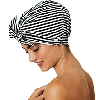 Kitsch Luxury Shower Cap for Women - Waterproof and Mold Resistant, Reusable Shower Caps (Black and White Stripe)