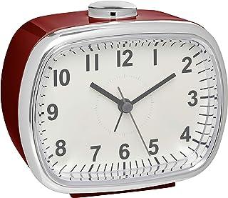 TFA Dostmann Analog väckarklocka, 60.1032.05, i retrolook, med snooze-funktion, vinröd, L 110 x B 60 x H 92 mm