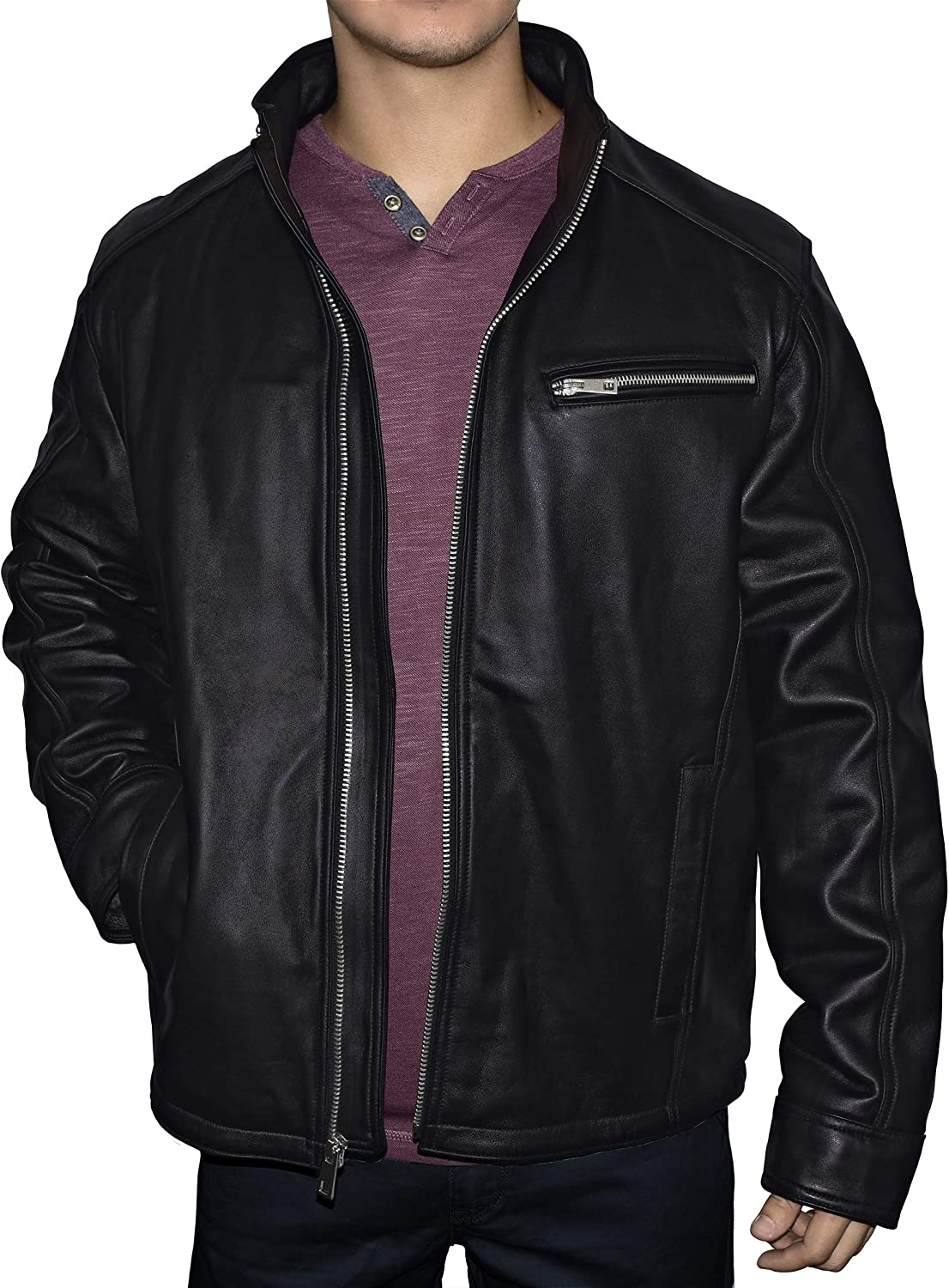 Victory Men's Genuine Leather Quilted Lined Racing Jacket