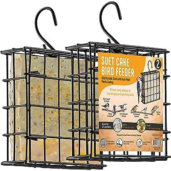 Suet Bird Feeders For Outside [2] Suet Wild Bird Feeders Use With Wild Bird Feeding Suet Cakes, Seed Cakes, Mealworm cakes - Suet Feeder Cage, Suet Feeder For Outside Hanging, Suet Cage Bird Feeder