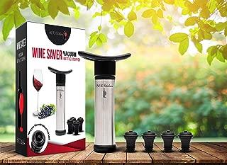 H&K Kitchen Premium Stainless Steel Wine Vacuum Pump with 4 Vacuum Wine Stoppers in Black