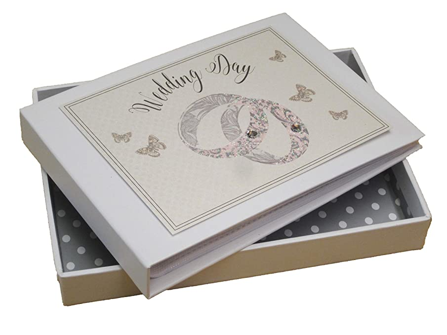 White Cotton Cards Wedding Day Patterned Rings Mini Photo Album (PWR1T)