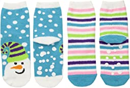 Jefferies Socks - Snowman Fuzzy Slipper Socks 2-Pack (Toddler/Little Kid/Big Kid)