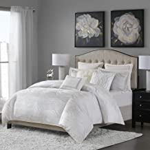 MADISON PARK SIGNATURE Hollywood Glam Luxurious Jacquard Oversized and Overfilled Comforter Set for Bedroom, Queen Size, White