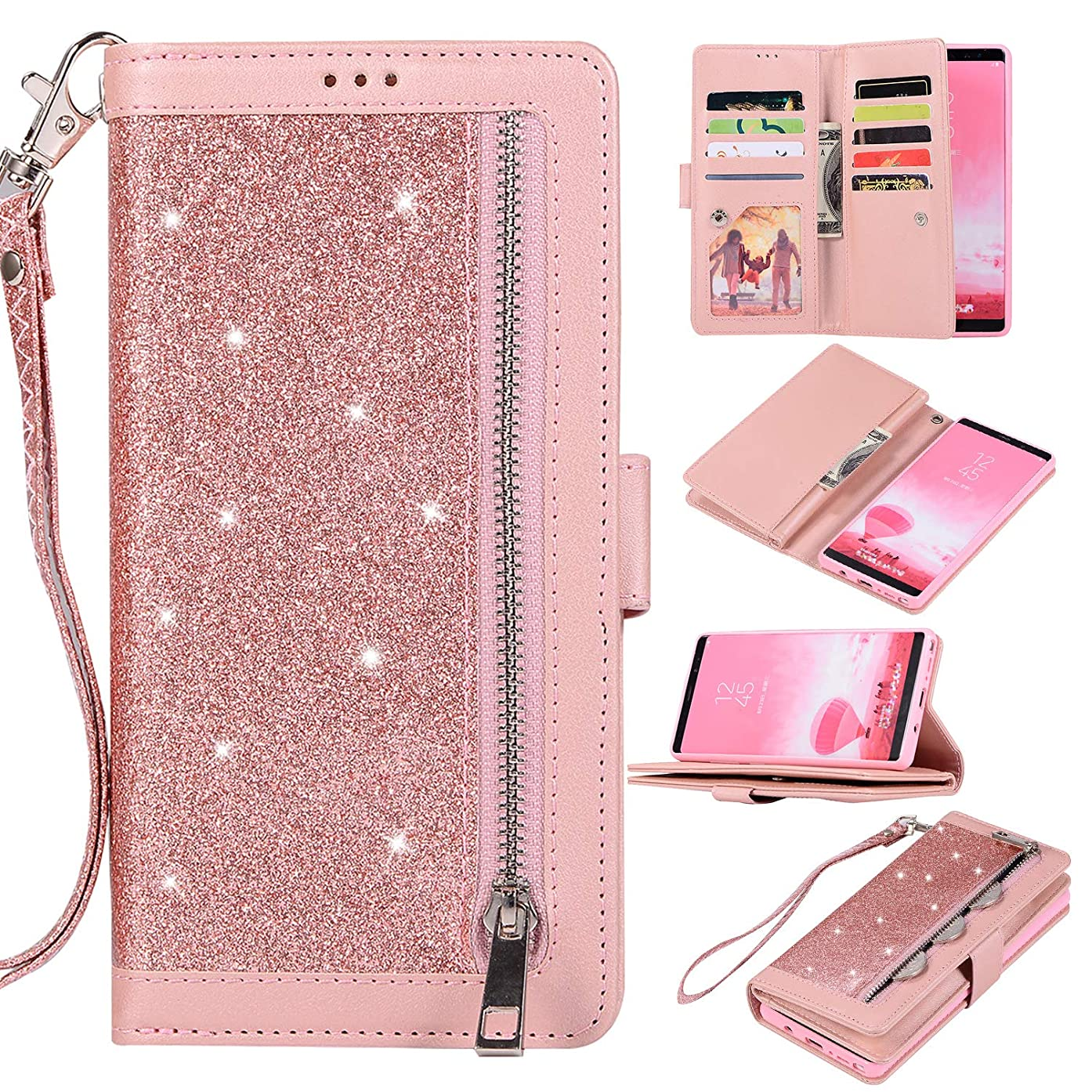 Fusicase for Galaxy S10 Wallet Case Glitter Case Bling Sparkle with Zipper Credit Card Holder Slot Pocket Stand Kickstand Cover with Wrist Strap PU Leather Case for Galaxy S10 Rose Gold