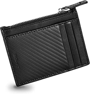 EGNT Genuine Leather Mens RFID Carbon ID Wallet Slim Credit Card Holder Minimalist (Zipped Card Case)