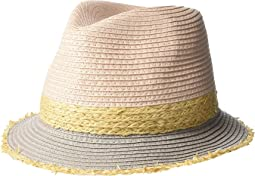 Color Blocked Fine Paper Braid Fedora