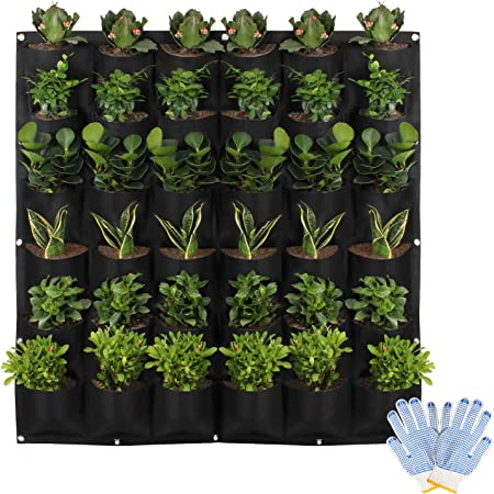 HilarityMax 36 Pocket Vertical Planter with Gloves and Guide for Indoor and Outdoor Gardening, Breathable Felt Grow Bag for Herbs, Vegetables, Flowers, Succulents, and Plants, Patio Wall Decor