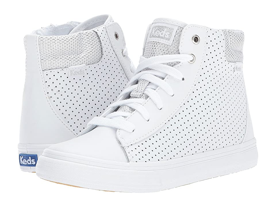 Keds Kids Double Up High Top (Little Kid/Big Kid) (White Perf Leather) Girl
