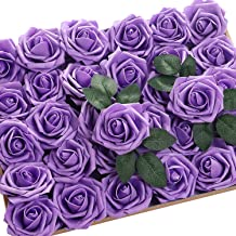 Jastella 72Pcs Artificial Rose Flowers with Stem 20 Decorative Leaves, Real Looking Foam Fake Roses for DIY Wedding Bouquets Centerpieces Party Home Decor (09# Purple)