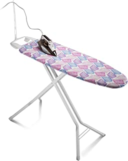 Bartnelli Rorets Ironing Board with Cover Pad, Height Adjustable, Safety Iron Rest, Safety Storage Lock, 4 Leg, 4 Layer Pad, Home Laundry Room or Dorm Use