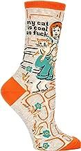 Blue Q Women's Novelty Crew Socks - My Cat Is Cool As F--- (Womens Size 5-10)