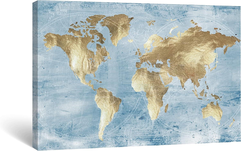 SUMGAR World Map Wall Art Living Room Office Decor Gold Landscape Blue Ocean Aesthetic Artwork Vintage Nautical Line Route Pictures Framed Canvas Prints for Modern Rustic Bedroom Bathroom - 16