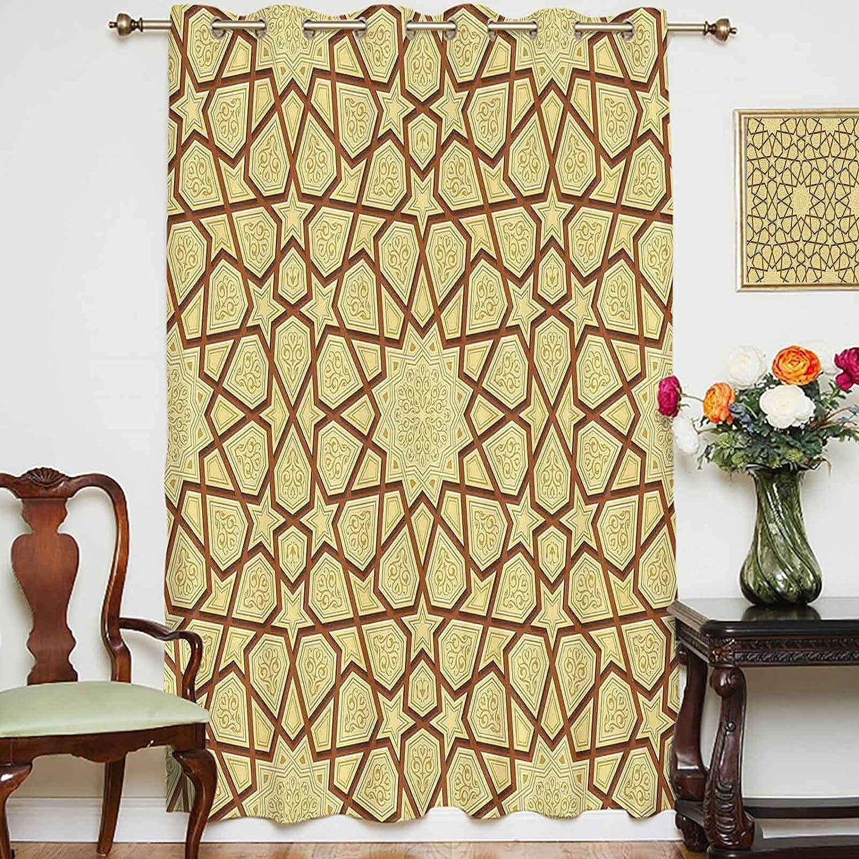 Blackout Shading Price reduction Curtains [Alternative dealer] Arabesque Star Retro Shapes on Design