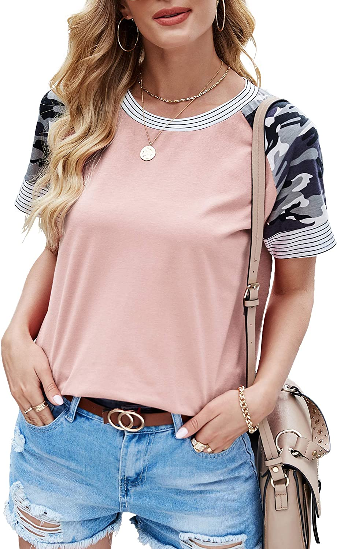 Aifer Women's Camo Color Block Tunics Casual Long Sleeve Shirt Striped Blouse Tops