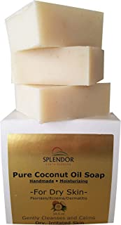 Moisturizing Coconut Oil Face & Body Bar Soap - Dry, Irritated, Itchy, Sensitive Skin - Organic Ingredients For Psoriasis, Eczema, Dermatitis. Handmade, Vegan,100% Natural (Unscented, Fragrance-Free)
