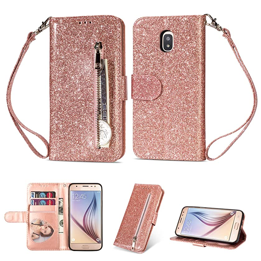 Zipper Wallet Case for Samsung Galaxy J3 2018,Aoucase Luxury Glitter Sparkly Bling Pocket Purse Wrist Strap Soft TPU Stand Leather Case with Black Dual-use Stylus - Rose Gold