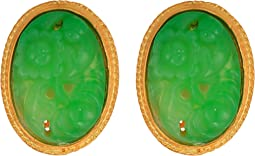Satin Gold Trim/Carved Jade Cabochon Oval Center Clip Earrings