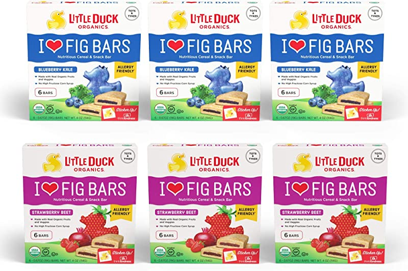 Little Duck Organics I Love Fig Bars Variety Pack 6 Count Box Of 0 67 Ounce Bars Pack Of 6 3 Each Blueberry Kale Strawberry Beet