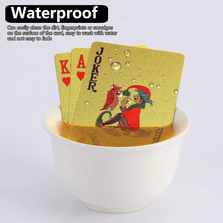 2 Decks Schwarz und Gold Spielkarte wasserdichte Pokerkarten Kunststoff PET Poker Karte Neuheit Poker Spiel Tools f/ür Familienkartenspiel Party 1pc Black+1pc Gold NXACETN wasserdichte Spielkarten
