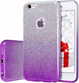 MATEPROX iPhone 6s Case iPhone 6 Case Glitter Slim Bling Crystal Clear 3 Layer Hybrid Protective Case for iPhone 6s/6 4.7 inch (Gradient Purple)