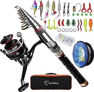 Fishing Pole Kit, Carbon Fiber Telescopic Fishing Rod and...
