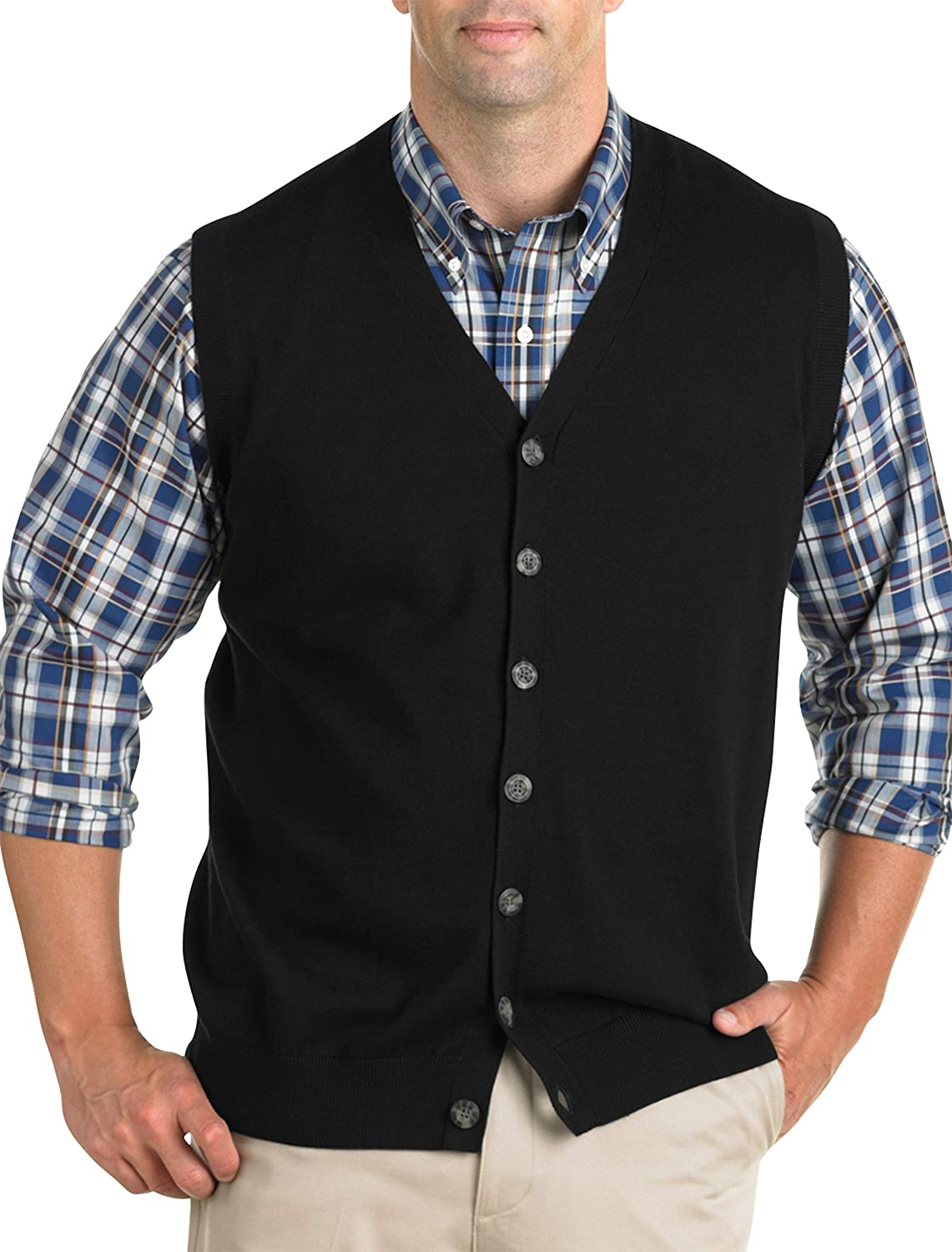 Oak Hill by DXL Big and Tall Button-Front Sweater Vest, Black, XTall