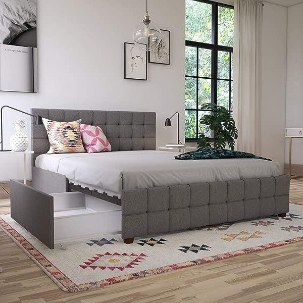 CosmoLiving By Cosmopolitan 4327439CL Elizabeth Upholstered Storage Queen Light Grey Linen Beds Gray