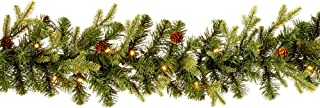 NOMA Pre-Lit Fall Garland | Pine Christmas Garland with Lights | Mini Pinecones and 50 Warm White LED Bulbs | 9 Feet