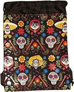 Disney COCO Drawstring Backpack PIXAR Licensed Sling Tote Gym Bag Remember Me (Black Skull Bone)