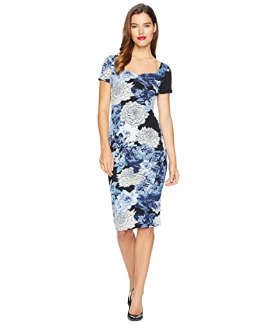 Unique Vintage Short Sleeve Harris Knit Wiggle Dress (Black/Blue Floral) Women