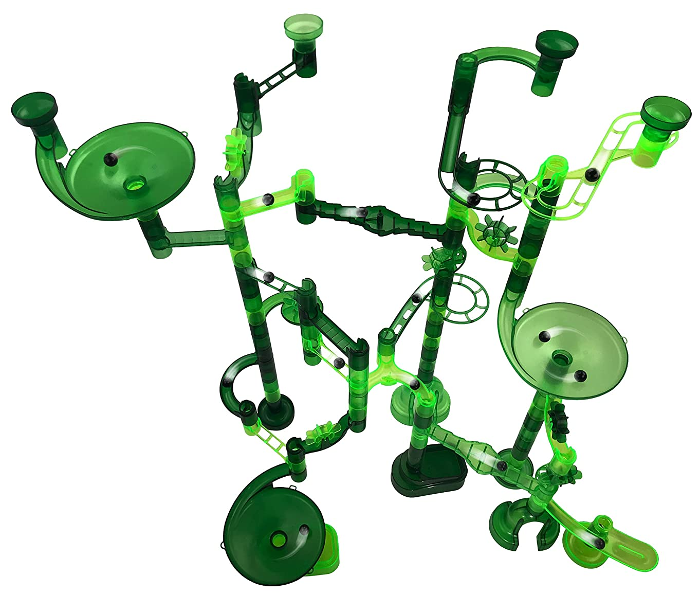 Marble Jungle Marble Run - 100 Pieces: 85 Translucent Marbulous Pieces + 15 Glass Marbles