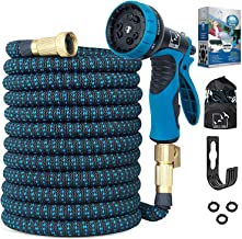 100 Ft Expandable Garden Hose, Upgraded Extra Strength No-Kink, Lightweight Durable Flexible Expanding Water Hose Pipe, 9 ...