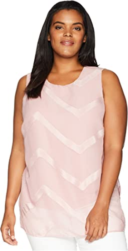 Plus Size Sleeveless Sheer Chevron Mix Media Tunic