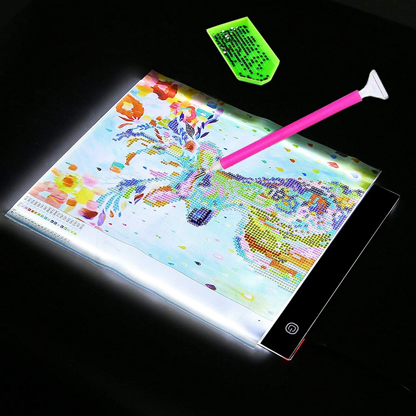 Foyute Diamond Painting A4 LED Light Box Tracer, Ultra-Thin Light Pad Board Tablet Dimmable Brightness Artcraft Tracing Light Pad for 5D Diamond Painting Sketching Embroidery Dots Cross Stitch