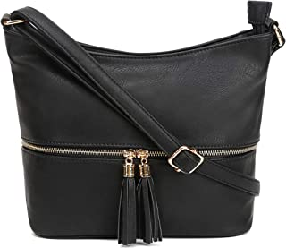 Medium Hobo Crossbody Bag with Tassel/Zipper Accent