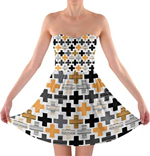 Rainbow Rules Geometric Cross Sweetheart Skater Dress Strapless