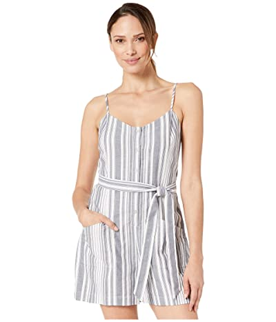 Vince Camuto Sleeveless Dobby Stripe Button Down Belted Romper (New Ivory) Women